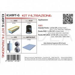 Kit Tagliando filtri per Grande Punto Punto Evo My 2012 1.4 8v GPL - Ydea K149FT-G
