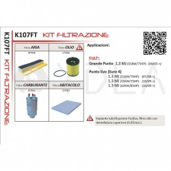 Kit Filtrazione Filtri Tagliando Grande Punto 1.3 MJ Punto Evo 1.3 MJ PURFLUX