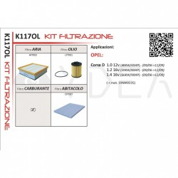 Kit Tagliando Corsa D 1.0 48Kw 65Hp 1.2 59Kw 80Hp 1.4