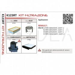 Kit Filtrazione Tagliando Filtri per Clio III 1.5 dCi 65 68 86 106 HP -